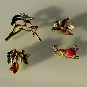 Vintage Mylu , Danecraft  Christmas brooches bundle